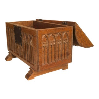 French Gothic Oak Coffer Chest For Sale