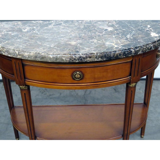 Directoire Style Marble Top Demi-Lune Console Table For Sale - Image 4 of 9