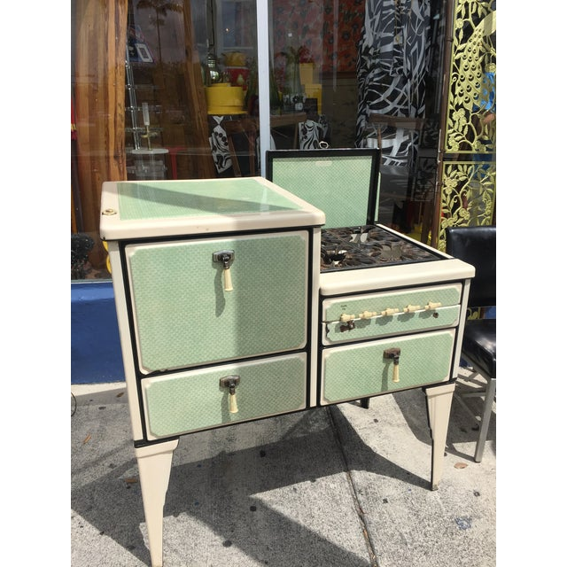 Green Antique Art Deco Jadite Green Enamel Stove For Sale - Image 8 of 11