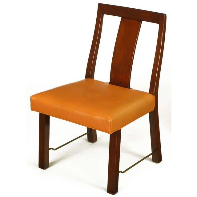 Eight Edward Wormley Mahogany, Leather and Brass Dining Chairs - Image 5 of 9