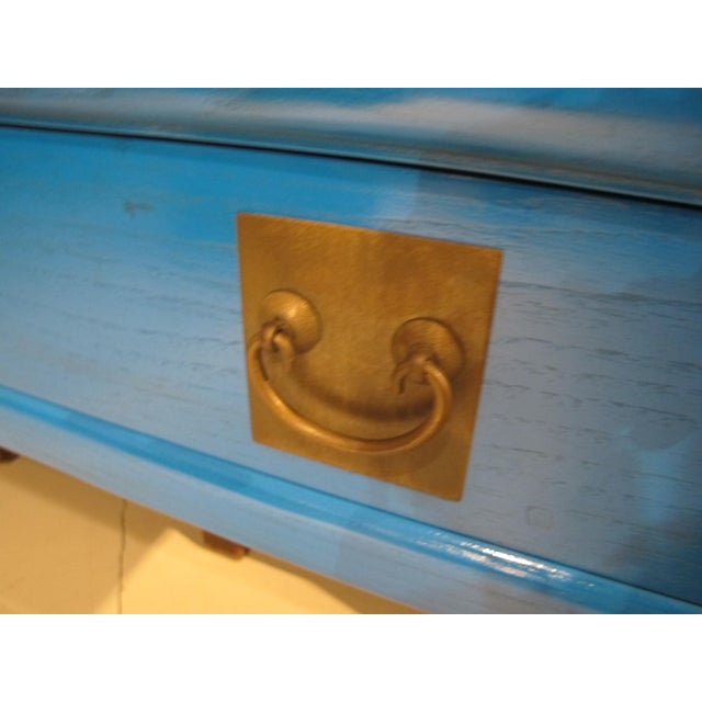 Asian Chinoiserie Blue Lacquered Desk/Console Table For Sale - Image 3 of 7