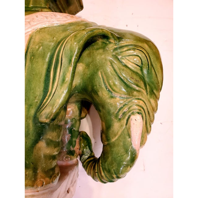 Vintage Green & White Elephant Garden Seat End Table For Sale - Image 12 of 13