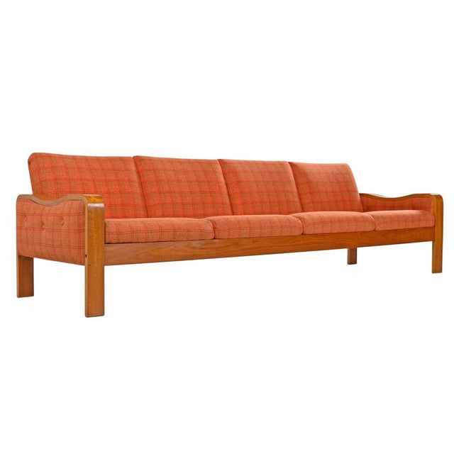 Fabric Vintage Original Scandinavian Bent Teak Plaid Wool Upholstered Sofa Couch, 1970s For Sale - Image 7 of 7