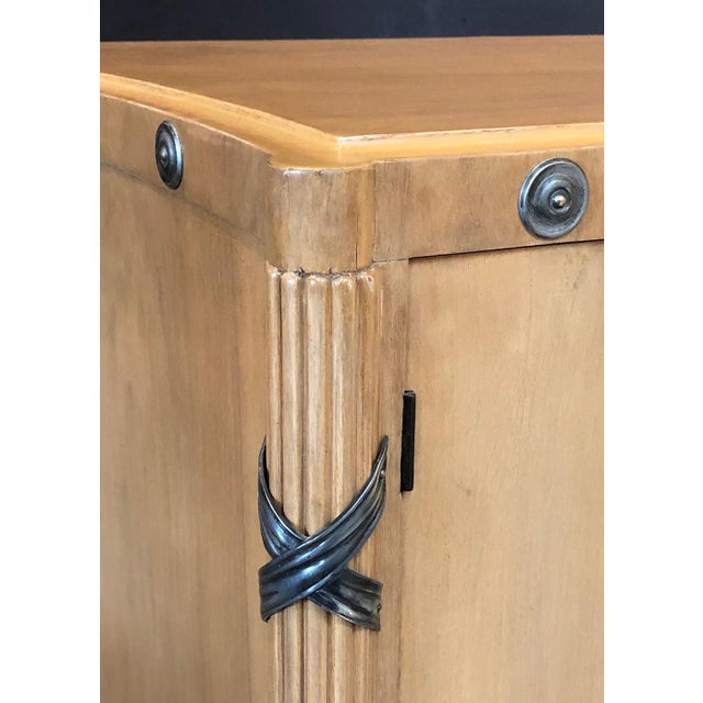 1940s French Sycamore 2-Door Cabinet With Pewter Mounts For Sale - Image 4 of 13