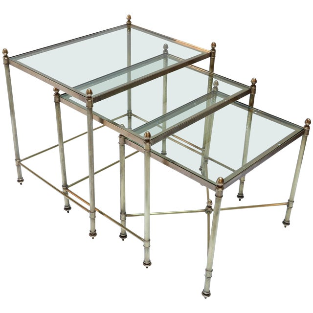 1960s Italian Brass Nesting Tables-Set of 3 For Sale