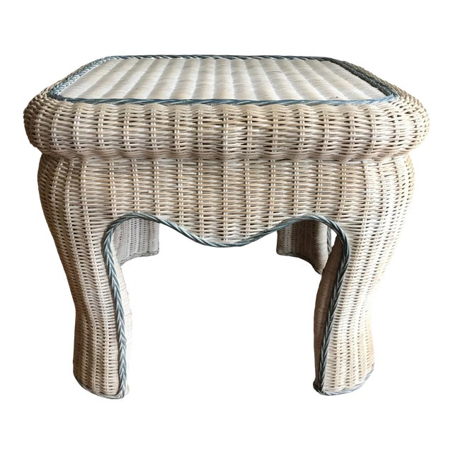 Boho Chic White Washed Wicker Side Table For Sale