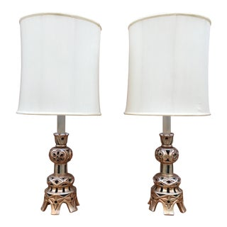Mid Century Modern Chinese Altar Style Candlestick Lamps - a Pair For Sale
