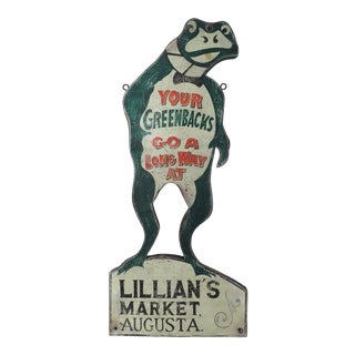 Hand Painted & Crafted Wood Augusta Maine Market Frog Sign For Sale