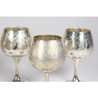 Moroccan Silver Plated Brass Floral Etched Goblets - Set of 5 Preview
