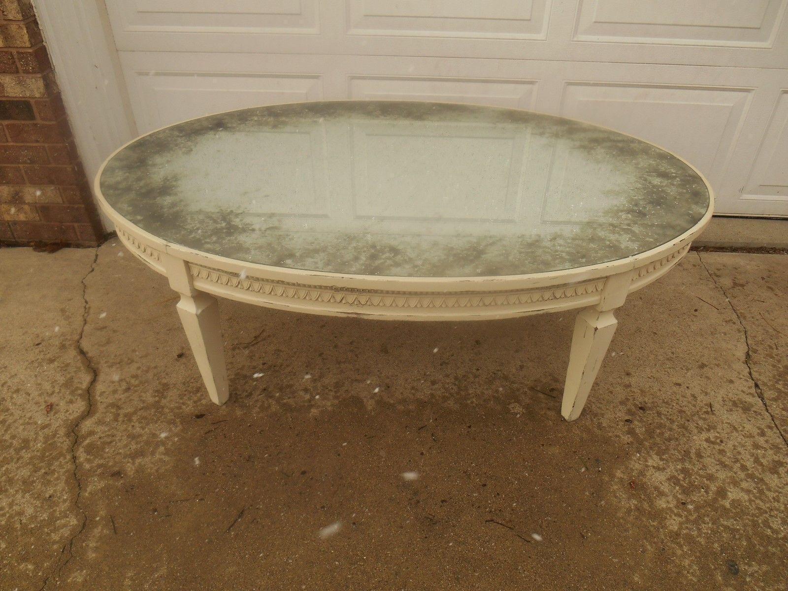Arhaus Amelia Oval Antiqued Mirrored Top Cream Coffee Table Chairish