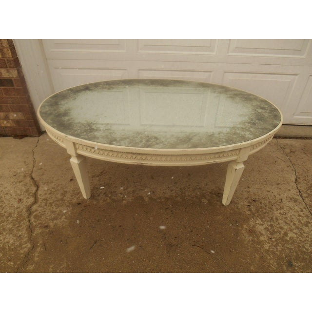 Arhaus Amelia 54 Oval Coffee Table In Cream With Antiqued Mirror Top
