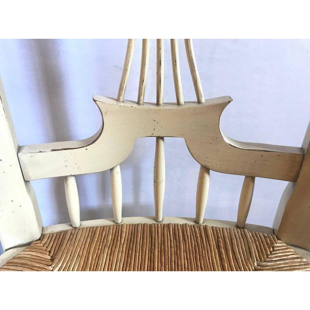 """Set of Six Distressed White Painted """"Italian"""" Rush Seat Side Chairs For Sale In New York - Image 6 of 13"""