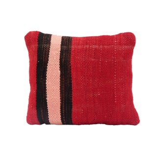 Small Red Moroccan Kilim Throw Pillow