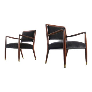 Set of Two Folke Ohlsson for Dux Chairs in Charcoal Suede, Sweden For Sale
