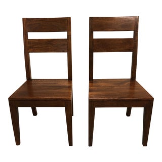 Pair of Crate & Barrel Basque Honey Wood Dining Chairs For Sale
