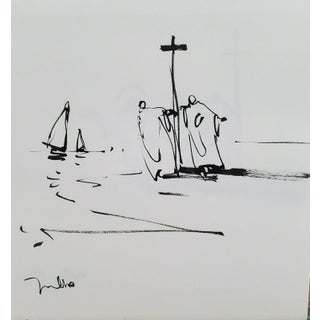 Contemporary Minimalist Religious Figurative Ink Drawing by Jose Trujillo For Sale