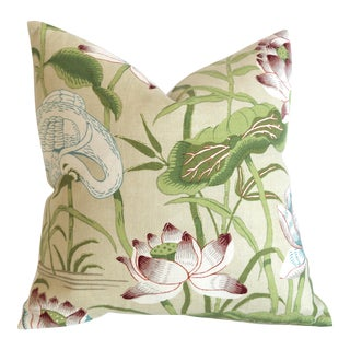 Schumacher Lotus Garden Pillow Cover 16x16 Parchment For Sale
