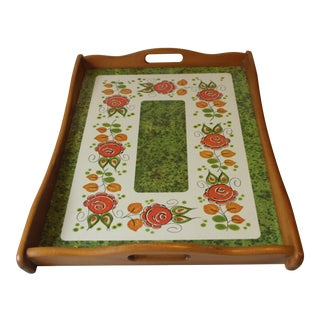 1950s Large Floral Design Wood and Solid Plastic Serving Tray For Sale