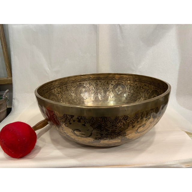 Mid 20th Century Hand Made Singing Bowl with Mallet - 2 Pieces For Sale - Image 4 of 13