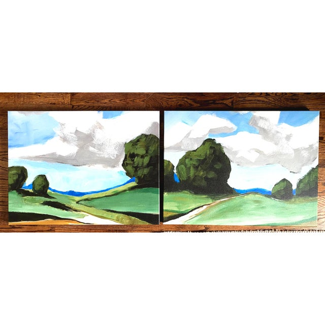 Canvas Contemporary Summer Landscape Prints on Canvas - a Pair For Sale - Image 7 of 11