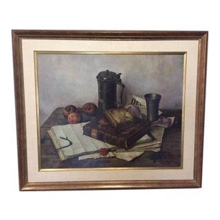 1960s Vintage Henk Bos Still Life Original Oil on Canvas Signed Painting For Sale
