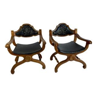 1960s Black Bassett Spanish Collection El Prado Savonarola Dante Campaign Chairs - a Pair For Sale