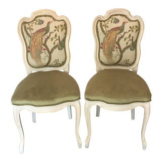19th Century Louis XV Château d'Amboise Parcel Gilt Velvet & Tapestry Chairs - a Pair For Sale
