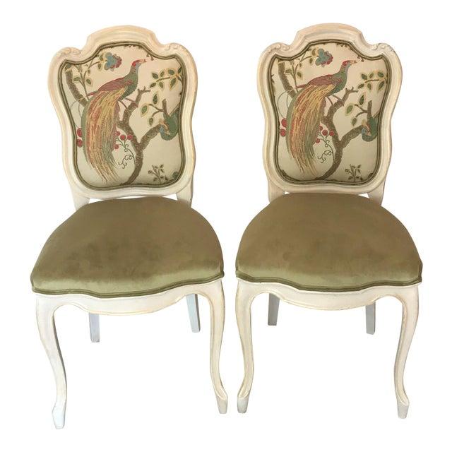 19th Century Louis XV Château d'Amboise Parcel Gilt Velvet & Tapestry Chairs - a Pair For Sale