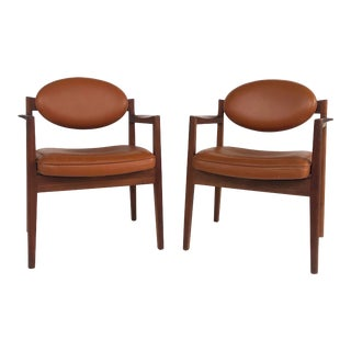 Jens Risom Design Pair of Oiled Walnut & Leather Upholstered Armchairs C.1965 For Sale