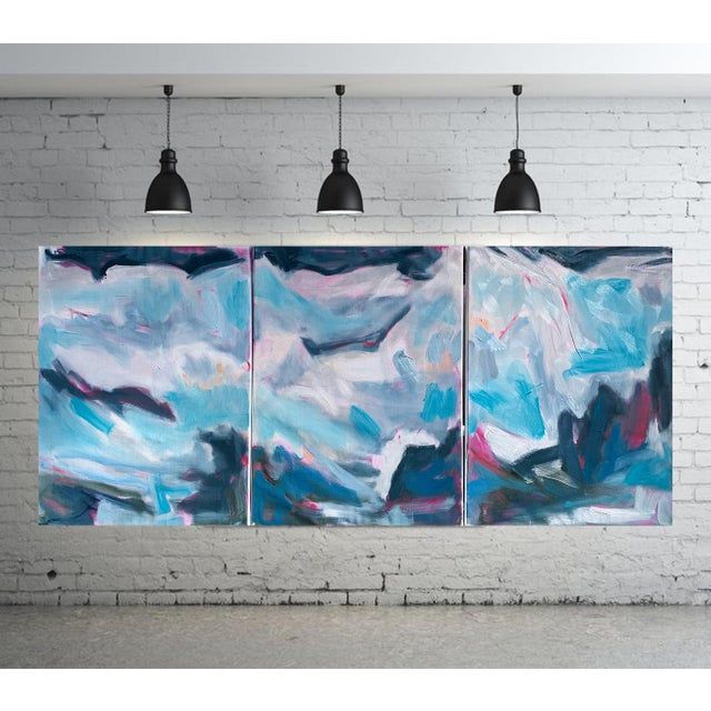 "Blue ""High Seas"" by Trixie Pitts Large Triptych Abstract Oil Painting For Sale - Image 8 of 13"