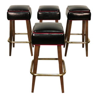 Falcon Backless Bar Stool Fully Upholstered Black Vinyl Seat ~ Set of 4 For Sale