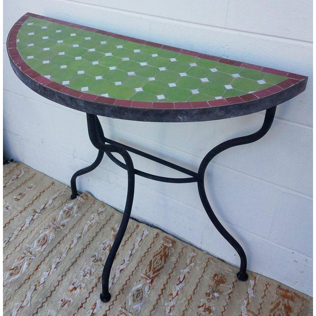 Islamic Moroccan Lime Green and Red Trim Mosaic Demilune Table For Sale - Image 3 of 7