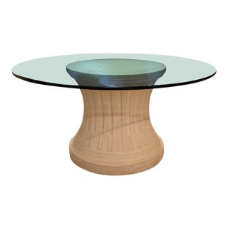 Custom Column & Round Glass Top Table For Sale