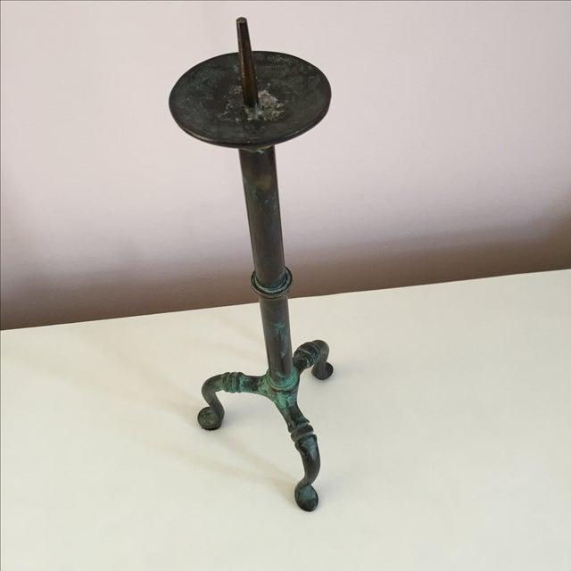 Brutalist Brutalist Brass & Copper Pillar Candle Holder For Sale - Image 3 of 9