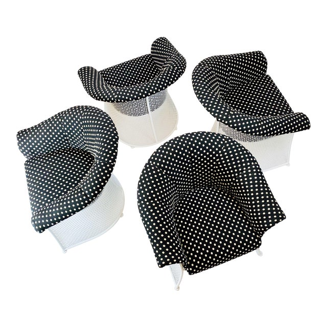 Rare 1950s Russell Woodard Black and White Polka Dot Patio Wrought Iron Set For Sale