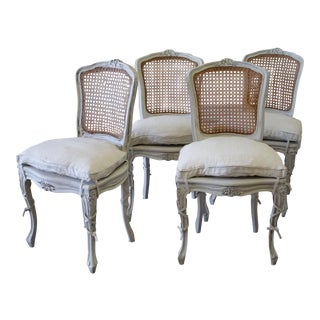 1890s French Louis XV White Caned Back Dining Chairs - Set of 4