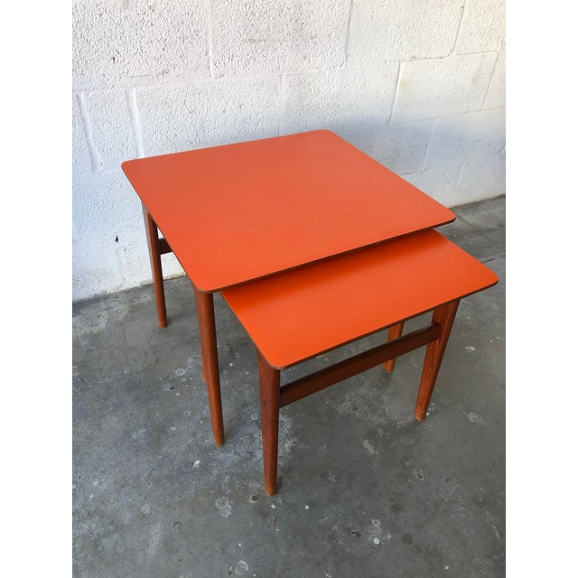 Vintage Mid-Century Danish Modern Nesting Tables (Set of Two) For Sale In Miami - Image 6 of 13