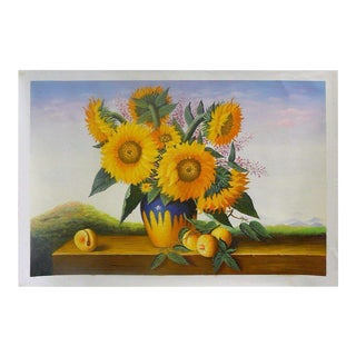 Oil Paint Canvas Art Beautiful Sunflowers In Vase Wall Decor For Sale
