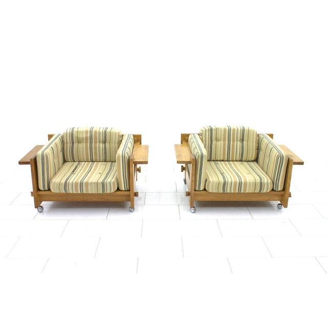Yngve Ekström Yngve Ekström Lounge Chairs in Oak for Swedese, Sweden 1960s For Sale - Image 4 of 9