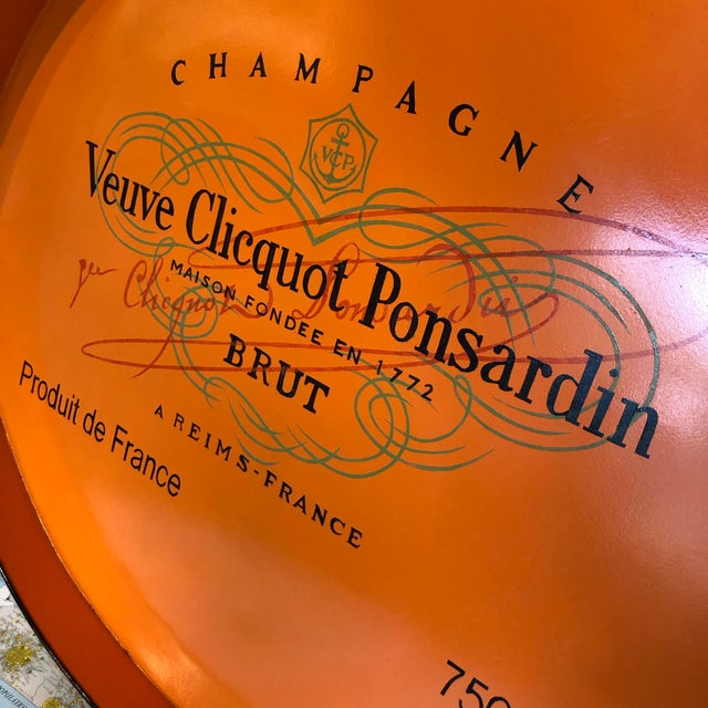 Vintage Handmade Veuve Clicquot Champagne Label Ovular Tole Tray For Sale In Houston - Image 6 of 11