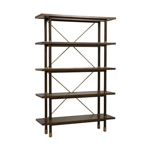 Contemporary Century Furniture Biscayne Etagere, Mink Grey Finish For Sale - Image 3 of 5