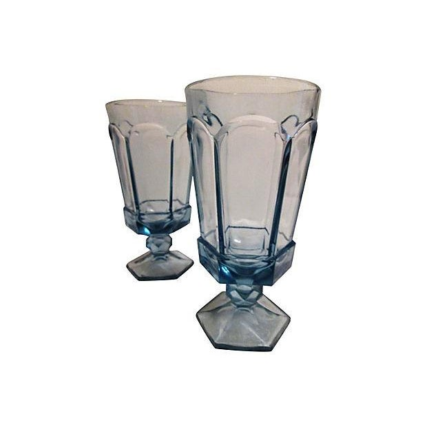 Vintage Powder Blue Footed Iced Tea Glasses - S/5 - Image 3 of 4