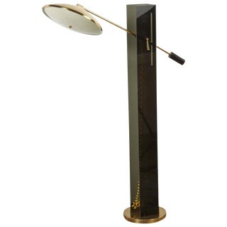 Mid-Century Modern Smoke Acrylic and Brass Floor Lamp For Sale
