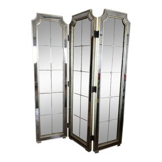 Antique Art Deco Nouveau 3 Panel Tri Fold Mirror Floor Divider For Sale