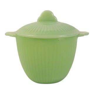 Anchor Hocking Jane Ray Jadeite Glass Sugar Bowl With Lid