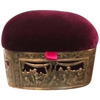 19th Century Continental Silver and Velvet Trinket Box
