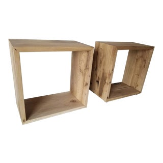 Oz shop Benchmade Cube Cut-out Side Tables in Natural Oak Large With Brass Feet - a Pair For Sale