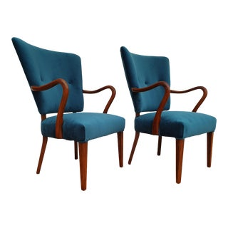 Vintage Alfred Christensen Danish Armchairs- A Pair For Sale