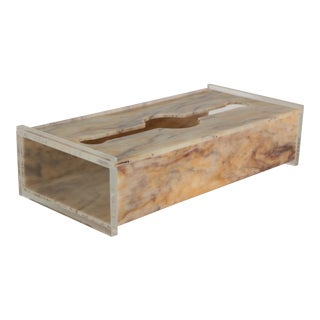 Swirled Onyx Lucite Tissue Box Cover For Sale