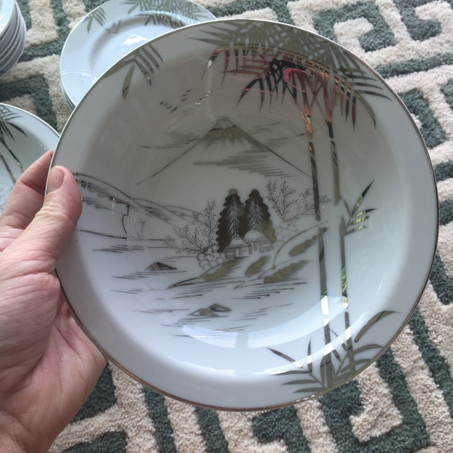 Mid Century Japanese Kutani Handpainted Dinnerware Plates & Bowls - 18 Pieces For Sale In Charlotte - Image 6 of 11